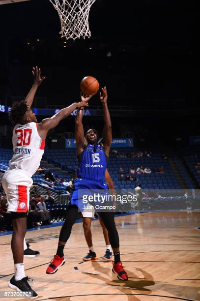 Donald Sloan of the Texas Legends catches the rebound against the Agua Caliente Clippers in Ontario on November 10 2017 at Citizens Business Bank...