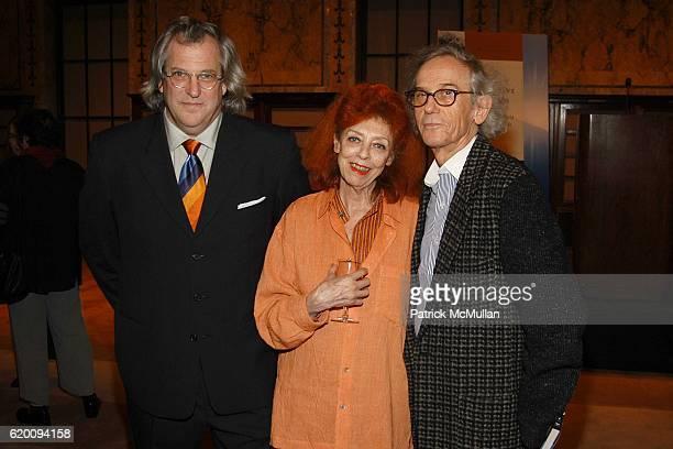 Donald Sultan, Jeanne-Claude and Christo attend In Memoriam: Jeanne-Claude Denat de Guillebon 1935 ñ 2009 at Steven Kasher Gallery on February 15,...