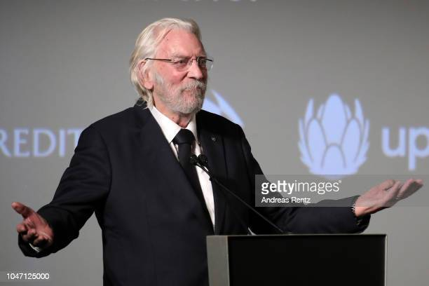 Donald Sutherland accepts the Lifetime Achievement Award at the 'Ella John' premiere during the 14th Zurich Film Festival at Festival Centre on...