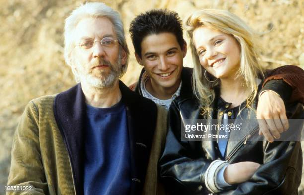 Donald Sutherland Adam Horovitz and Amy Locane on set of the film 'Lost Angels' 1989