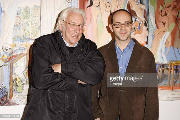 Donald Sutherland and Damian Elwes during Damian Elwes 'Inside Picasso's Studio' Art Exhibition at MB in West Hollywood California United States