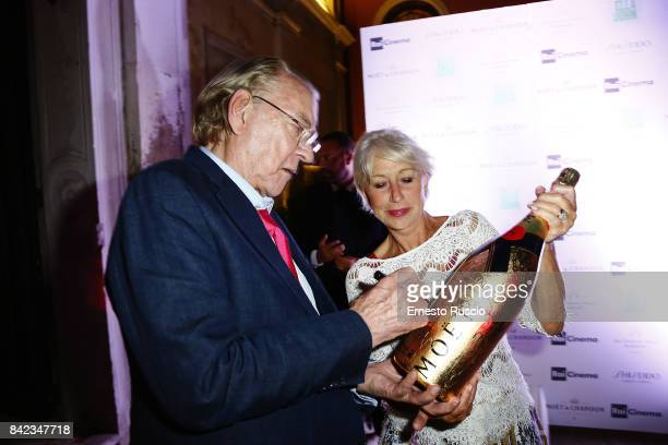 Donald Sutherland and Helen Mirren attend the Leisure Seeker party during the 74th Venice Film Festival at San Clemente Palace Hotel on September 3...