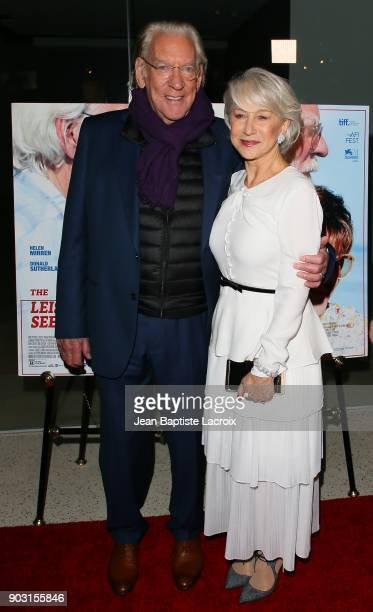 Donald Sutherland and Helen Mirren attend the premiere of Sony Pictures Classics' 'The Leisure Seeker' at Pacific Design Center on January 9 2018 in...