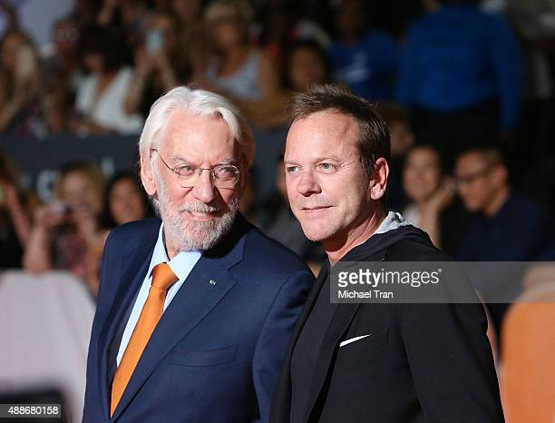 Donald Sutherland and Kiefer Sutherland arrive at the Forsaken premiere during 2015 Toronto International Film Festival held at Roy Thomson Hall on...