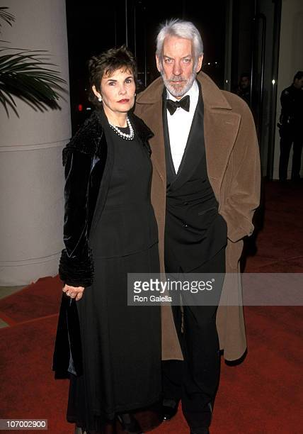 Donald Sutherland and Wife Francine Racette during AFI Lifetime Achievement Award Salute to Dustin Hoffman February 18 1999 at Beverly Hilton Hotel...