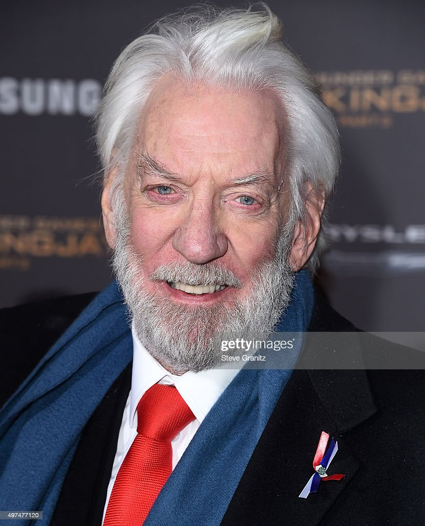 Donald Sutherland arrives at the Premiere Of Lionsgate's 'The Hunger Games: Mockingjay - Part 2' at Microsoft Theater on November 16, 2015 in Los Angeles, California.