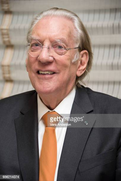 Donald Sutherland at the Trust Press Conference at the Peninsula Hotel on March 20 2018 in New York City