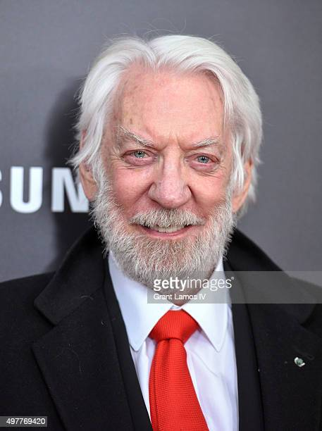 Donald Sutherland attends 'The Hunger Games Mockingjay Part 2' premiere at AMC Loews Lincoln Square 13 theater on November 18 2015 in New York City