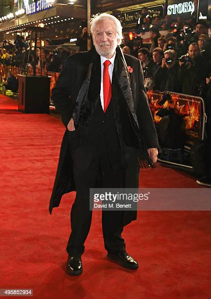 Donald Sutherland attends the UK Premiere of 'The Hunger Games Mockingjay Part 2' at Odeon Leicester Square on November 5 2015 in London England