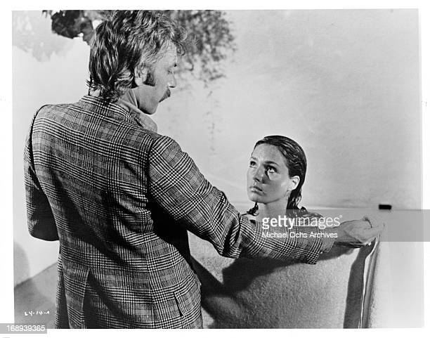 Donald Sutherland encounters Jennifer O'Neill in a scene from the film 'Lady Ice' 1973