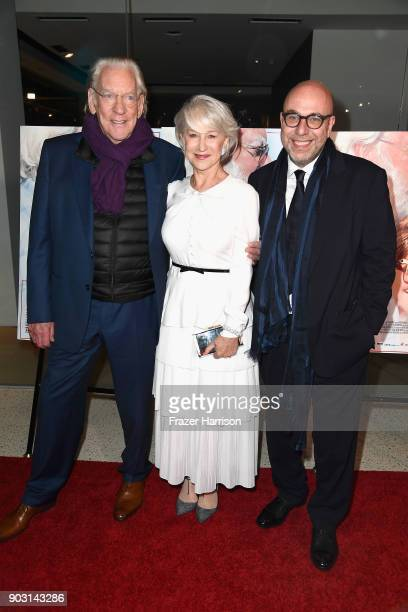 Donald Sutherland Helen Mirren and director Paolo Virzi attend the premiere of Sony Pictures Classics' 'The Leisure Seeker' at Pacific Design Center...
