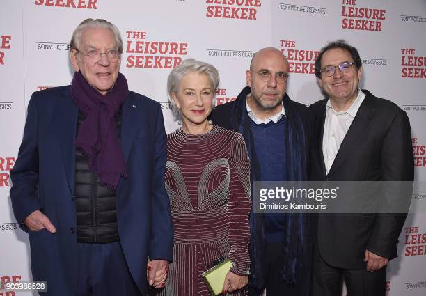 Donald Sutherland Helen Mirren director Paolo Virzi and Michael Barker attend The Leisure Seeker New York Screening at AMC Loews Lincoln Square on...
