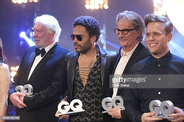 Donald Sutherland Lenny Kravitz Paul Smith and Olly Murs are seen on stage at the GQ Men Of The Year Award 2014 at Komische Oper on November 6 2014...