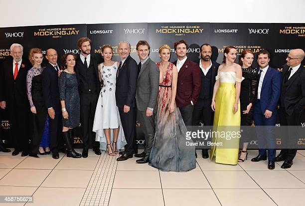 Donald Sutherland Natalie Dormer producer Jon Kilik producer Nina Jacobson Liam Hemsworth Jennifer Lawrence director Francis Lawrence guest Elizabeth...
