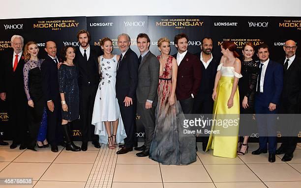 Donald Sutherland, Natalie Dormer, producer Jon Kilik, producer Nina Jacobson, Liam Hemsworth, Jennifer Lawrence, director Francis Lawrence, guest,...