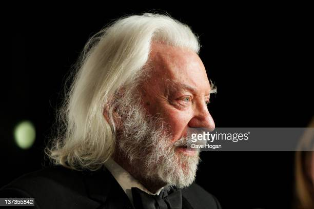 Donald Sutherland poses in the press room at the London Film Critics' Circle Awards 2012 at The BFI Southbank on January 19 2012 in London United...