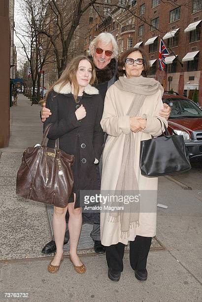 Donald Sutherland poses with Sarah Sutherland and Francine Racette in midtown on April 1 2007 in New York City