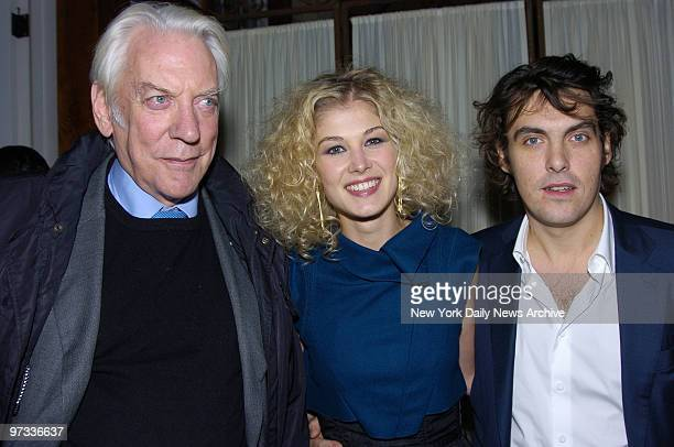 Donald Sutherland Rosamund Pike and director Joe Wright attend a party at the Central Park Boathouse following the premiere of the movie Pride and...
