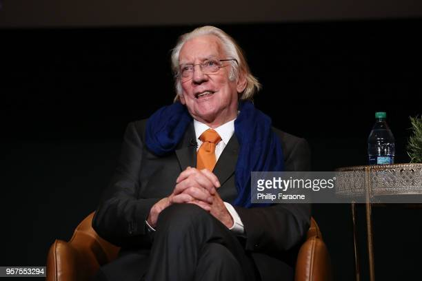 Donald Sutherland speaks onstage during the For Your Consideration Event for FX's 'Trust' at Saban Media Center on May 11 2018 in North Hollywood...