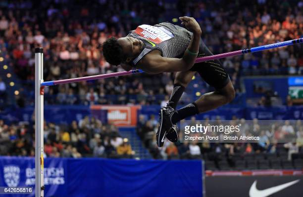 Donald Thomas of Bahamas in the mens high jump during the Muller Indoor Grand Prix 2017 at the Barclaycard Arena on February 18 2017 in Birmingham...