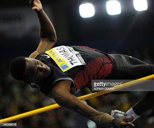 Donald Thomas of The Bahamas competes during the Men's High Jump during the Aviva Grand Prix athletics meeting at The National Indoor Arena in...