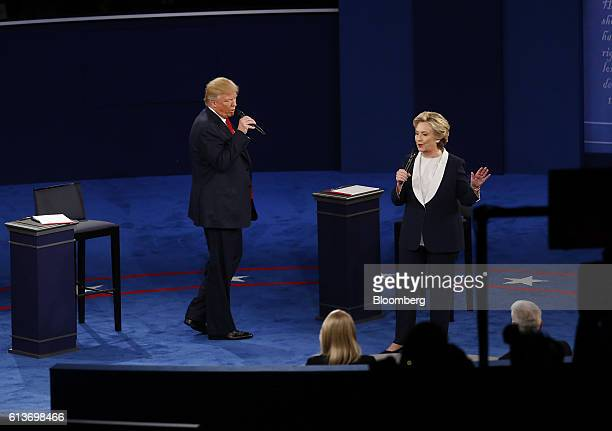 Donald Trump 2016 Republican presidential nominee and Hillary Clinton 2016 Democratic presidential nominee speak during the second US presidential...