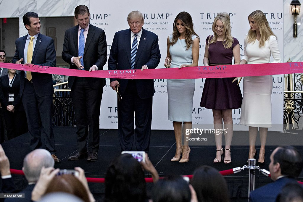 Republican Presidential Nominee Donald Trump Attends Trump International Hotel Grand Opening : News Photo
