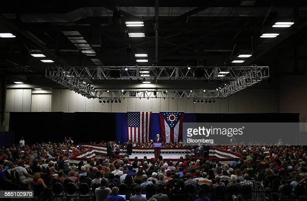 Donald Trump 2016 Republican presidential nominee speaks during a town hall event in Columbus Ohio US on Monday Aug 1 2016 Trump's swipe at the...
