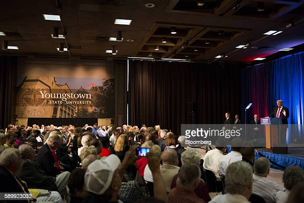 Donald Trump 2016 Republican presidential nominee speaks during a campaign event at Youngstown State University in Youngstown Ohio US on Monday Aug...