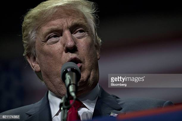 Donald Trump 2016 Republican presidential nominee speaks during a campaign rally in Hershey Pennsylvania US on Friday Nov 4 2016 As the US...