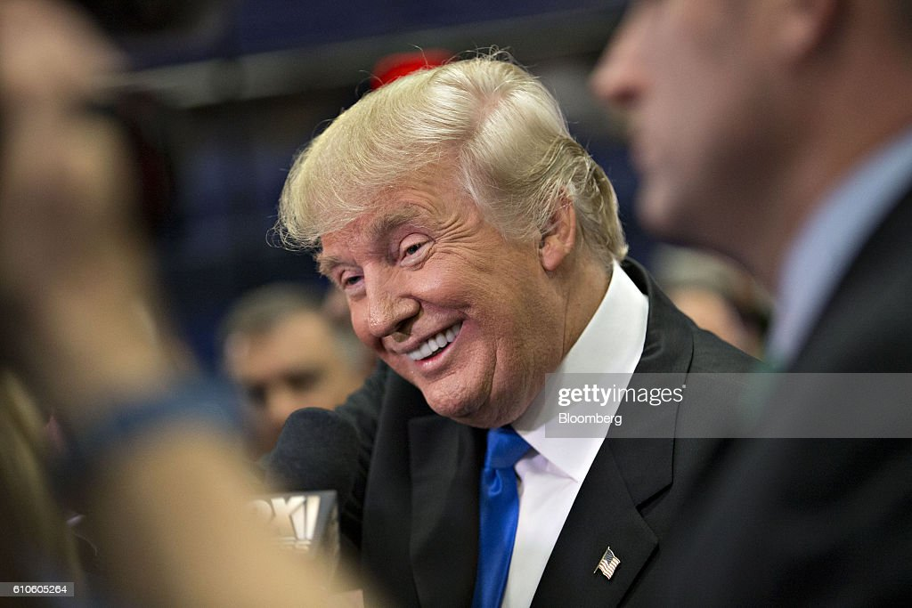 Donald Trump, 2016 Republican presidential nominee, speaks to the media following the first U.S. presidential debate at Hofstra University in Hempstead, New York, U.S., on Monday, Sept. 26, 2016. Hillary Clinton and Trump leveled sharp and personal charges and counter-charges over trade, the U.S. economy, race and foreign policy in their first face-to-face debate, an event that put on display their starkly different personalities and visions of the nation's future. Photographer: Daniel Acker/Bloomberg via Getty Images