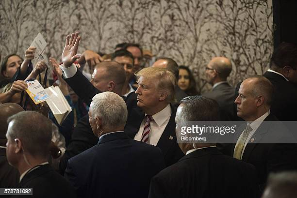 Donald Trump 2016 Republican presidential nominee waves to attendees after speaking during a goodbye reception at the Westin Hotel in Cleveland Ohio...