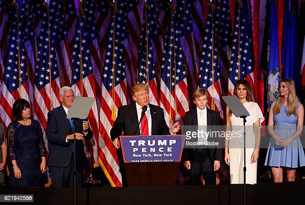 Donald Trump addresses his supporters after being elected President at his election night event at the New York Hilton Midtown in New York City on...