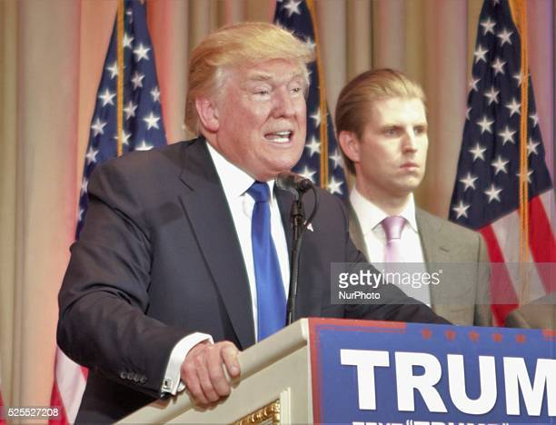 Donald Trump addresses press during a press conference at MarALago in Chicago Florida United States on March 1 2016