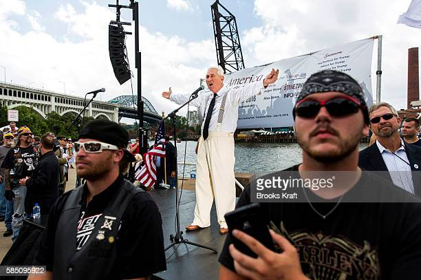 Donald Trump advisor and political consultant Roger Stone speaks at an 'America First' unity rally on the opening day of the Republican National...