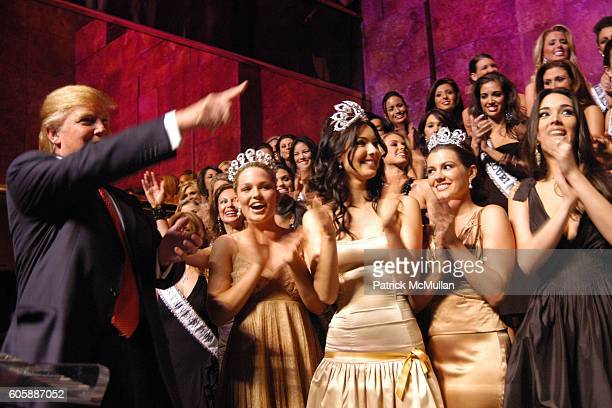 Donald Trump Allie LaForce Miss Teen USA 2005 Natalie Glebova Miss Universe 2005 and Chelsea Cooley Miss USA 2005 attend 'The Miss Universe Guide to...