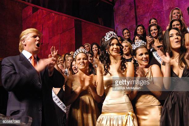 Donald Trump Allie LaForce Miss Teen USA 2005 Natalie Glebova Miss Universe 2005 and Chelsea Cooley Miss USA 2005 attend The Miss Universe Guide to...