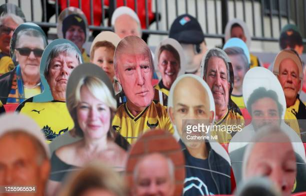 Donald Trump among the cardboard cut out fans during the Sky Bet League One Play Off Final between Oxford United and Wycombe Wanderers at Wembley...