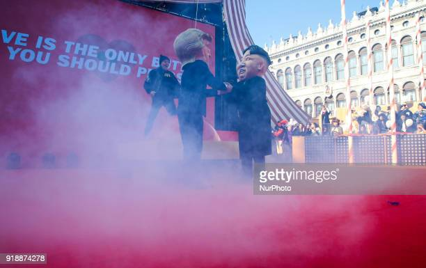 Donald Trump and a Kim Jong Un puppets at the event of the Eagle Flight on February 11 2018 in Venice Italy The theme for the 2018 edition of Venice...