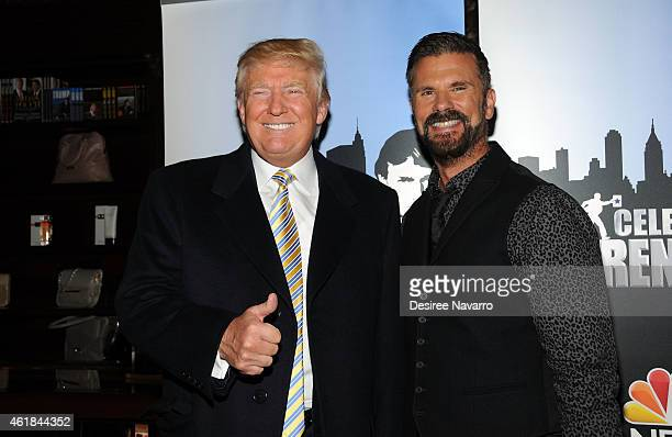 Donald Trump and actor Lorenzo Lamas attend Celebrity Apprentice Red Carpet Event at Trump Tower on January 20 2015 in New York City