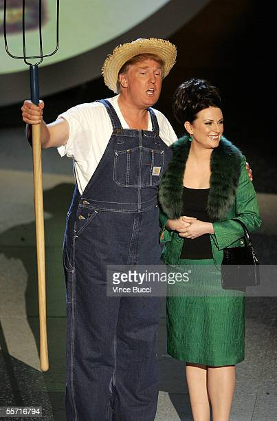 Donald Trump and Actress Megan Mullally perform the Green Acres Theme onstage at the 57th Annual Emmy Awards held at the Shrine Auditorium on...