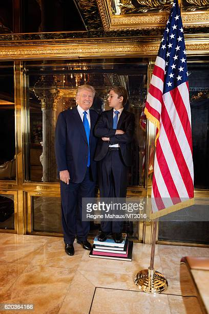 Donald Trump and Barron Trump are photographed at Trump Tower on January 6 2016 in New York City