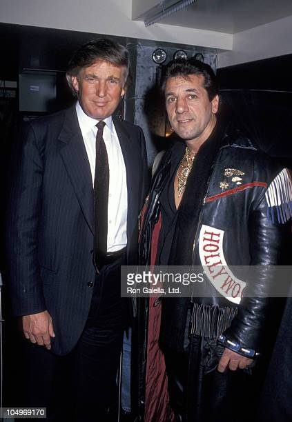 Donald Trump and Chuck Zito during Grand Opening of The Harley Davidson Cafe at Harley Davidson Cafe in New York City New York United States