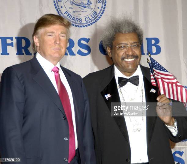 Donald Trump and Don King during The Friars Club Roast of Don King at The New York Hilton in New York City New York United States