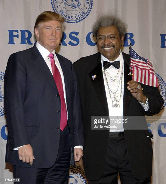 Donald Trump and Don King during The Friars Club Roast of Don King at The New York Hilton in New York City, New York, United States.