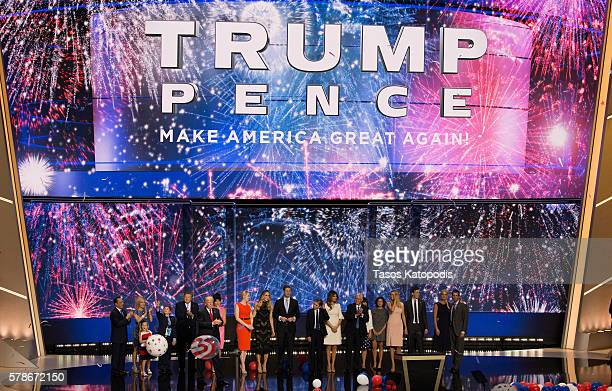 Donald Trump and famly and Mike Pence and family enjoy the fourth day of the Republican National Convention on July 21 2016 at the Quicken Loans...