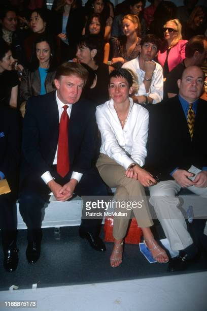 Donald Trump and Ghislaine Maxwell attend Anand Jon Fashion Show on September 18, 2000 in New York City.