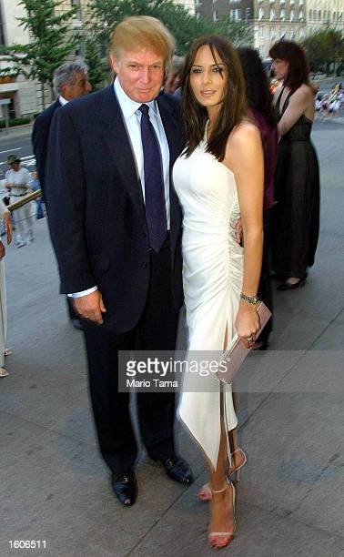 Donald Trump and girlfriend Melania Knauss arrive at Tony Bennett''s 75th birthday party at the Metropolitan Museum of Art August 2 2001 in New York...