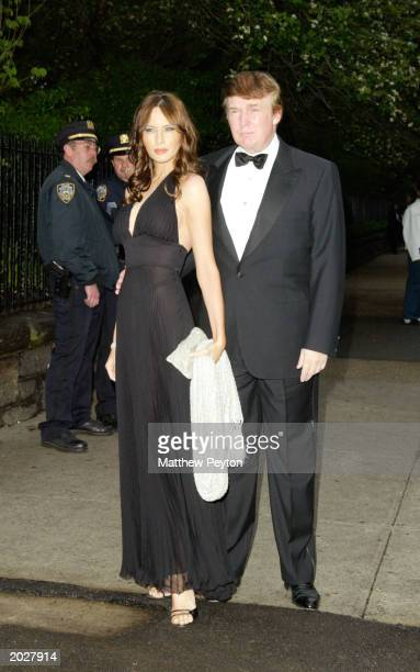 Donald Trump and girlfriend Melania Knauss attend the wedding of Rudolph Giuliani and Judith Nathan at Gracie Mansion May 24th 2003 in New York City
