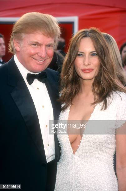 Donald Trump and girlfriend Melania Knauss during The 73rd Annual Academy Awards Arrivals at the Shrine Auditorium on March 25 2001 in Los Angeles...